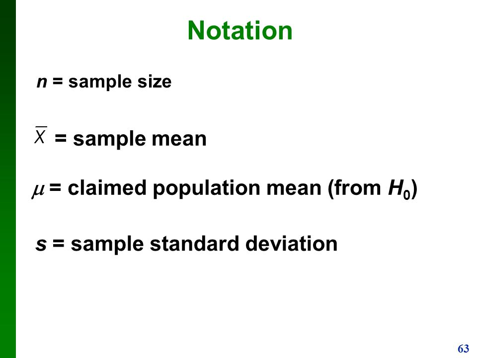 Notation = sample mean m = claimed population mean (from H0)