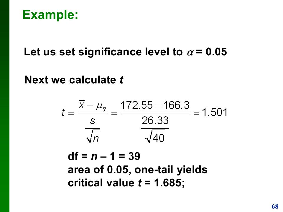Example: Let us set significance level to  = 0.05 Next we calculate t