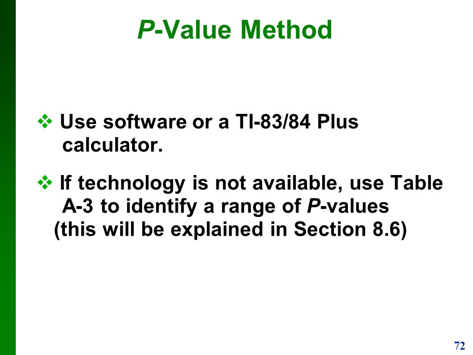 P-Value Method Use software or a TI-83/84 Plus calculator.