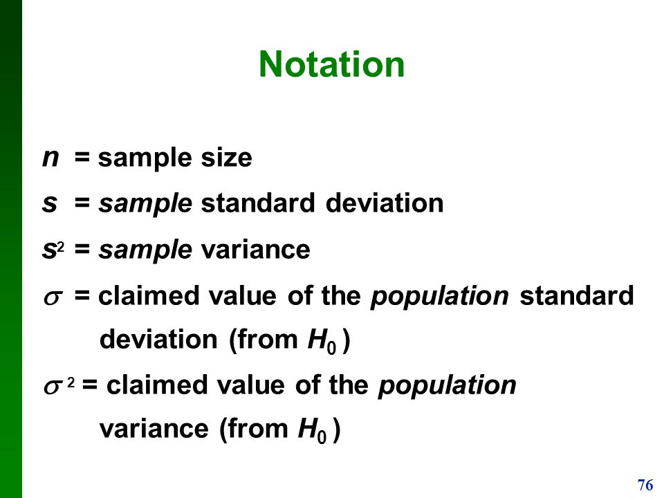 Notation n = sample size s = sample standard deviation