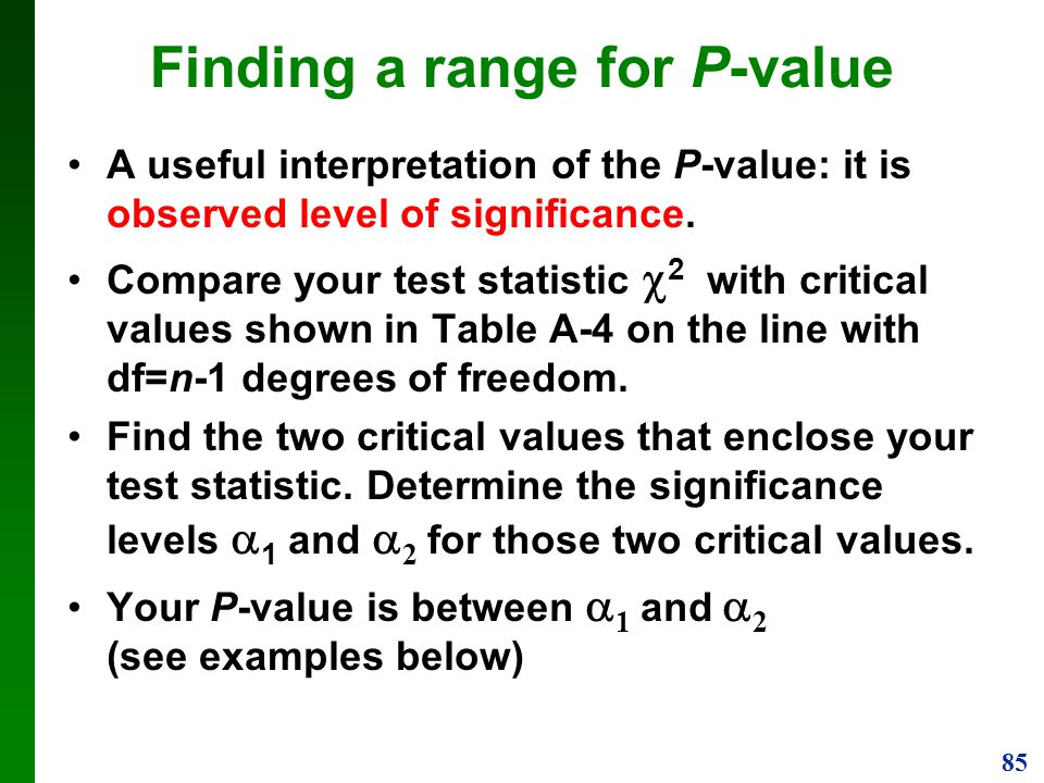 Finding a range for P-value