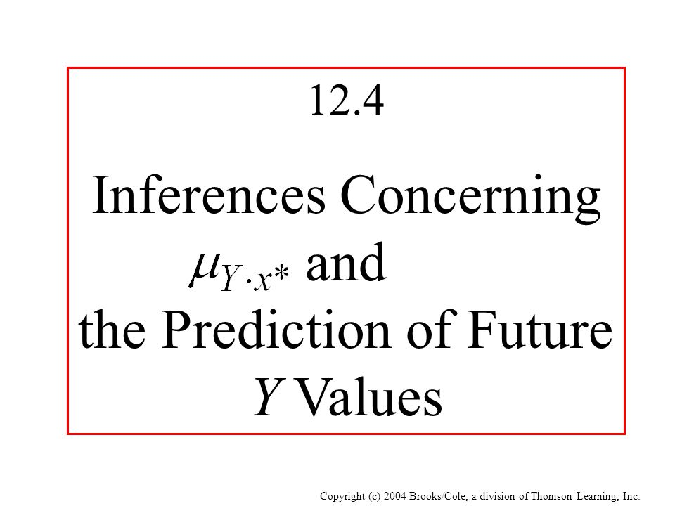 Inferences Concerning and the Prediction of Future Y Values
