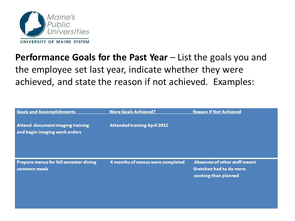 TIPS FOR COMPLETING PERFORMANCE EVALUATIONS FOR HOURLY EMPLOYEES ...