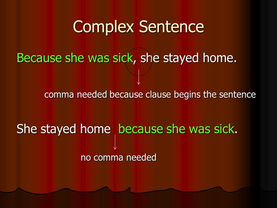 Complex Sentence Because she was sick, she stayed home.