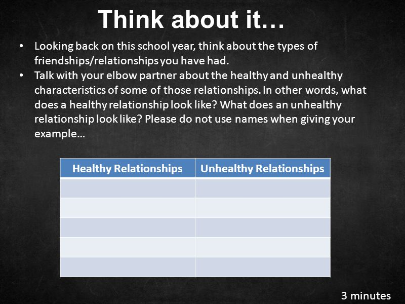 Healthy Relationships Unhealthy Relationships