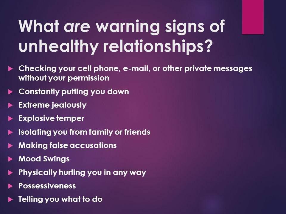 Signs of being in a bad relationship