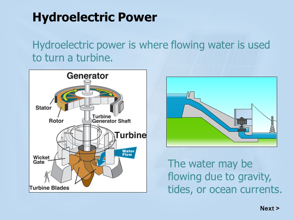 Hydroelectric Power Hydroelectric power is where flowing water is used to turn a turbine.