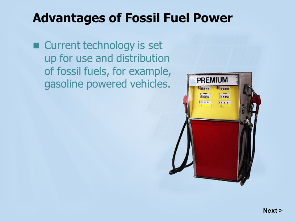 Advantages of Fossil Fuel Power