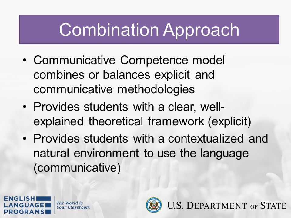Combination Approach Communicative Competence model combines or balances explicit and communicative methodologies.