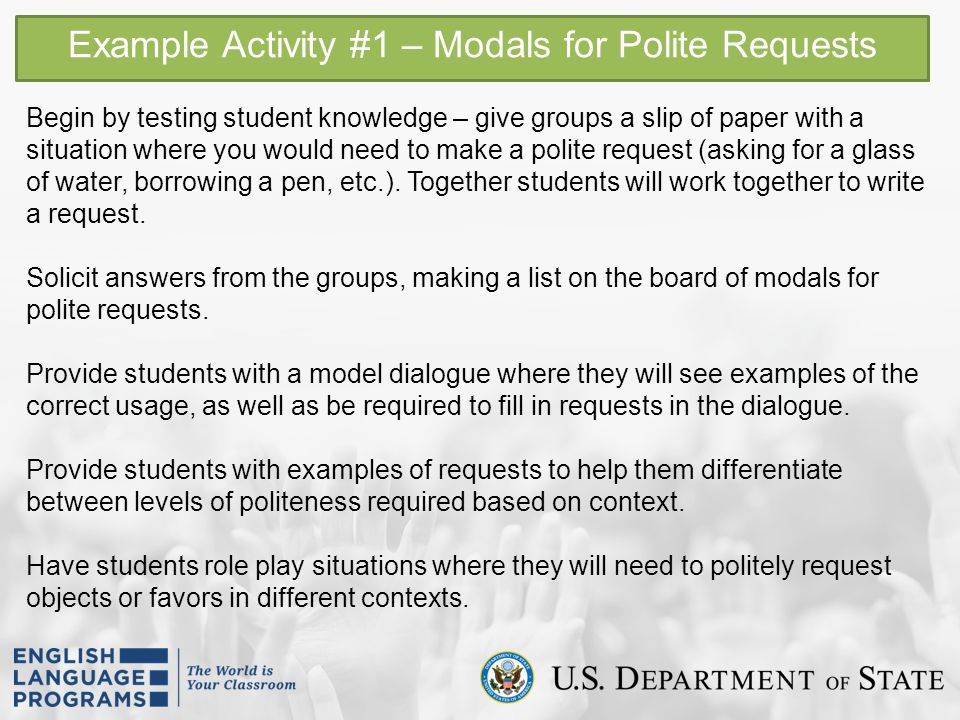 Example Activity #1 – Modals for Polite Requests