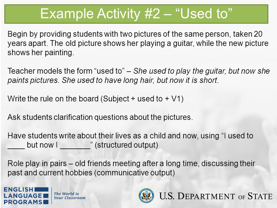 Example Activity #2 – Used to