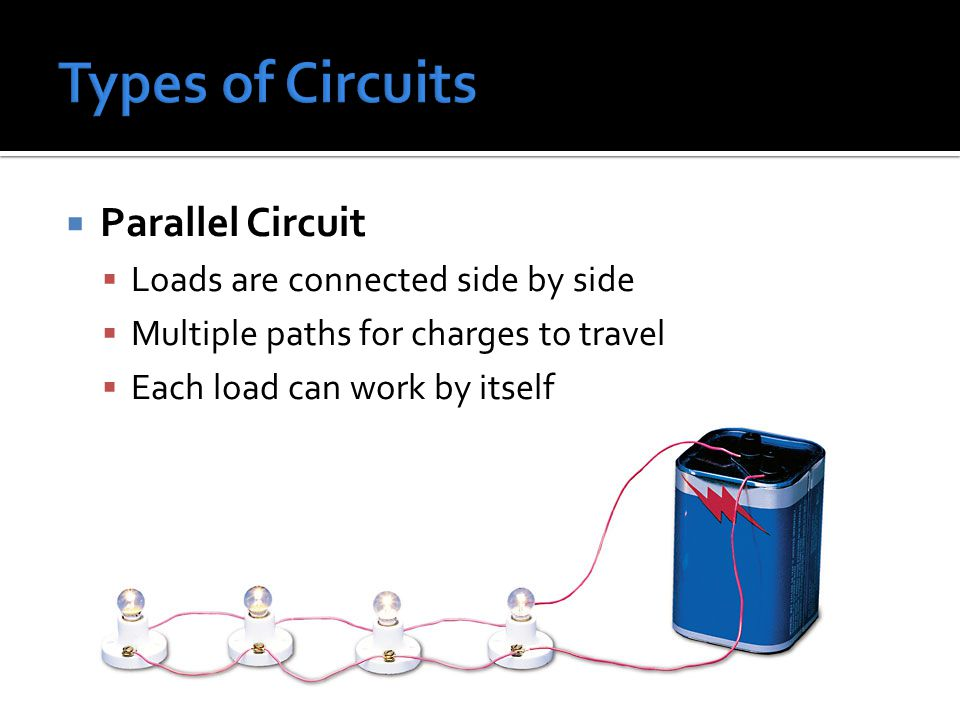 Types of Circuits Parallel Circuit Loads are connected side by side