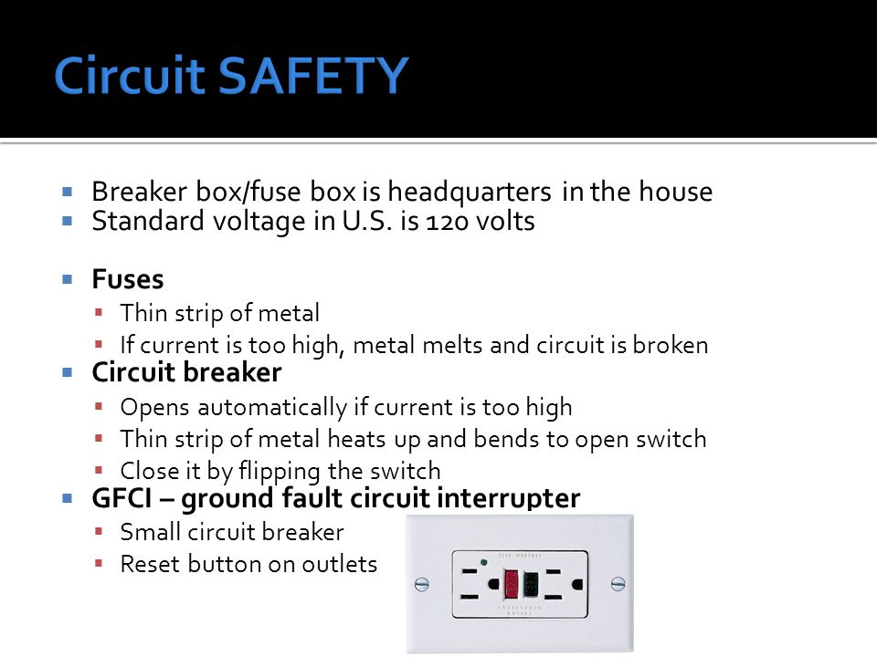 Circuit SAFETY Breaker box/fuse box is headquarters in the house