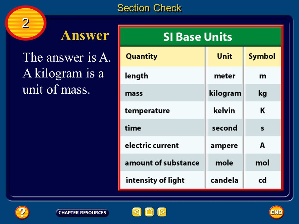Section Check 2 Answer The answer is A. A kilogram is a unit of mass.