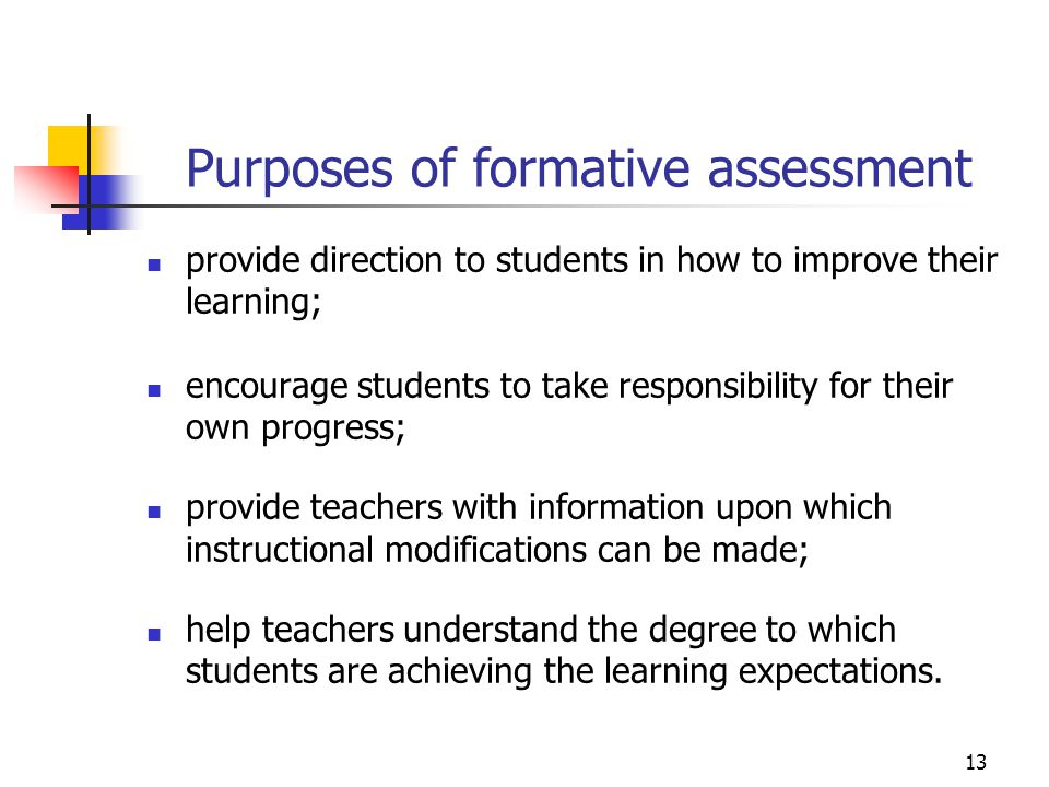 Purposes of formative assessment