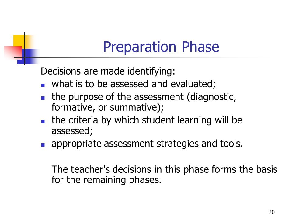 Preparation Phase Decisions are made identifying: