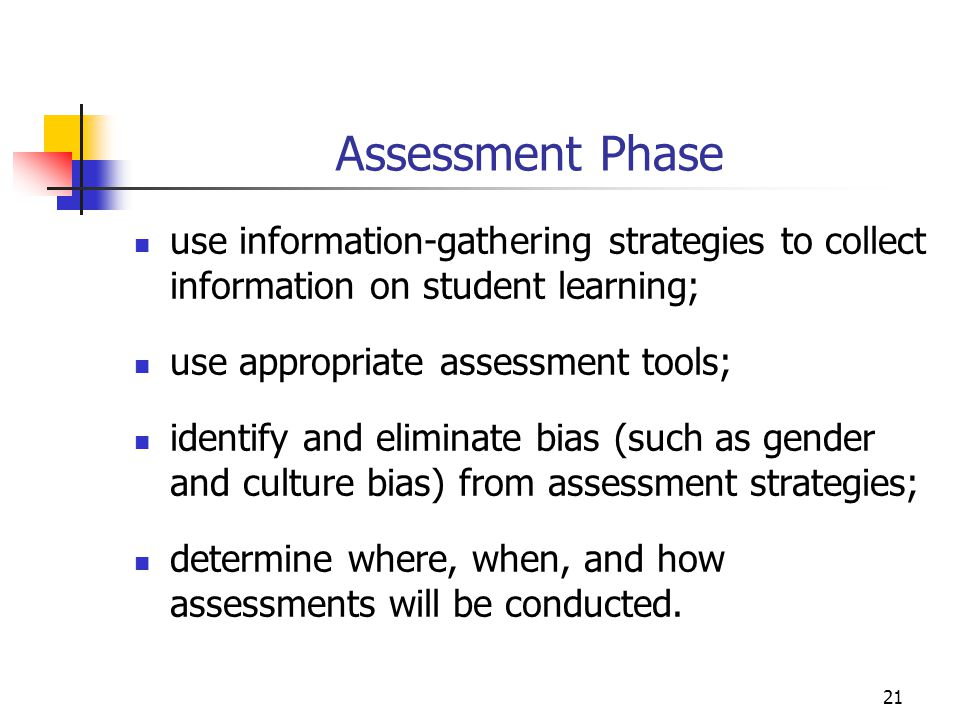Assessment Phase use information-gathering strategies to collect information on student learning; use appropriate assessment tools;