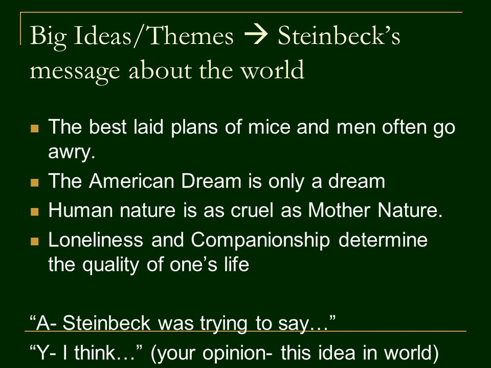 of mouse and man essay the dream Free essay: a dream can be defined in as an ideal the american dream is to be able to get by on your own, to be your own boss, to have a little piece of the novel 'of mice and men', written by john steinbeck is a truly fascinating novel based upon the theme of dreams this novel was published in.
