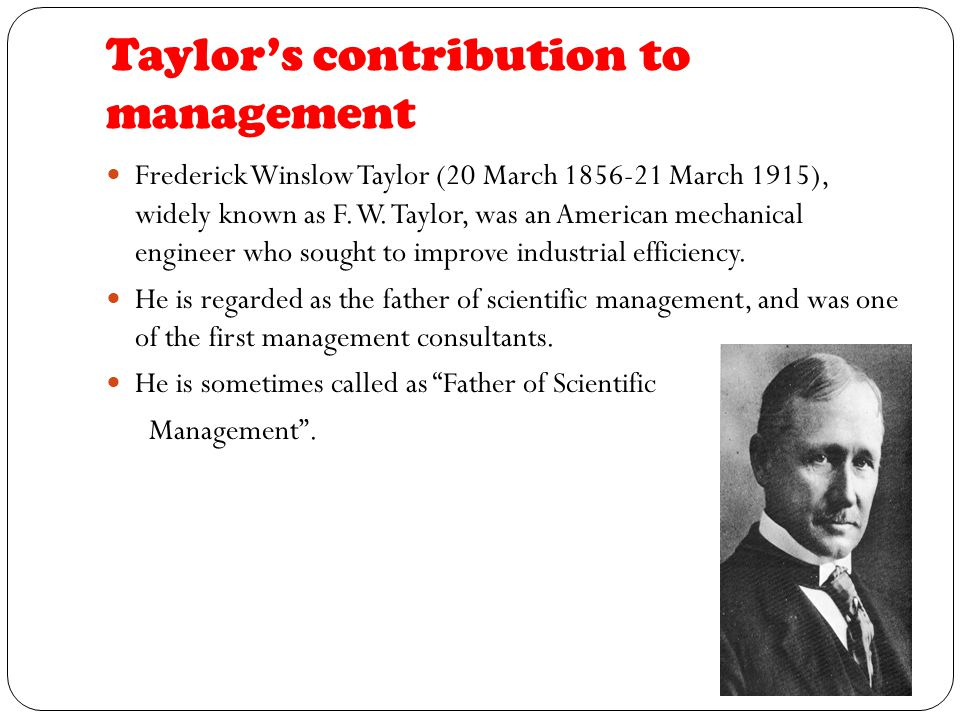Image result for frederick taylor contribution to management