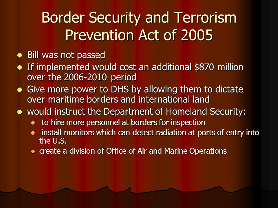 Border Security and Terrorism Prevention Act of 2005