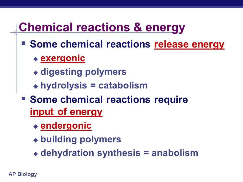 Chemical reactions & energy