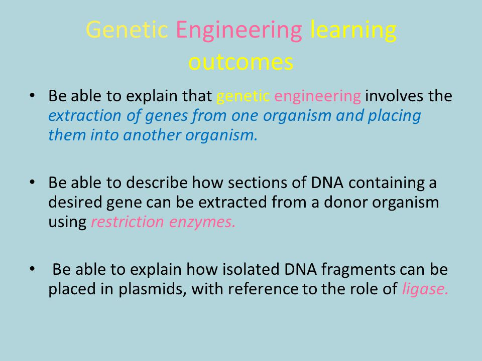 Genetic Engineering learning outcomes