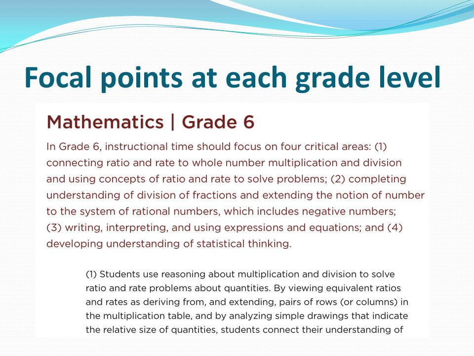 Focal points at each grade level