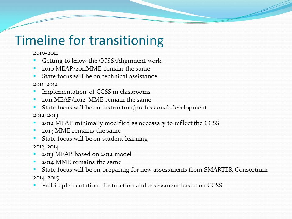 Timeline for transitioning