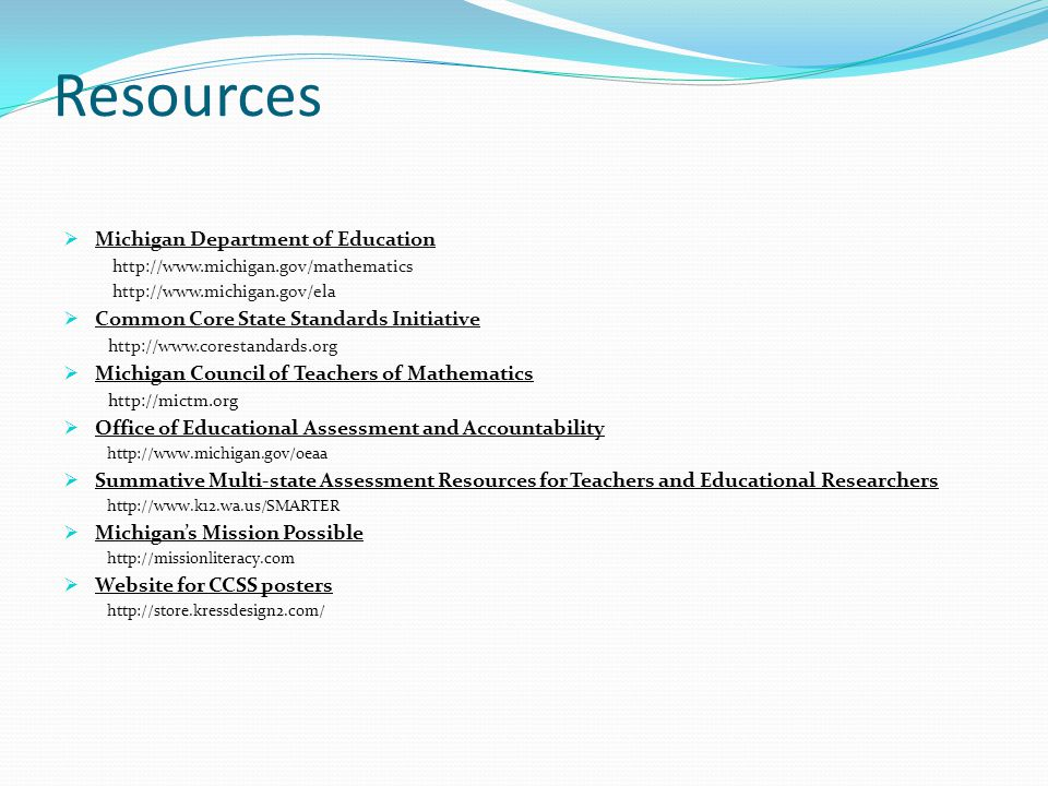 Resources Michigan Department of Education