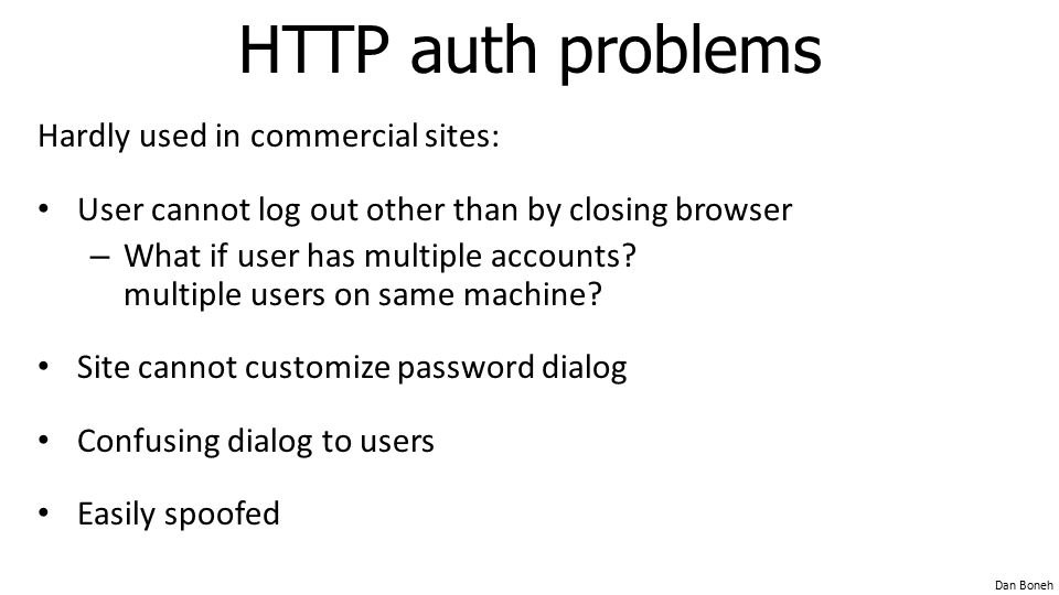 HTTP auth problems Hardly used in commercial sites: