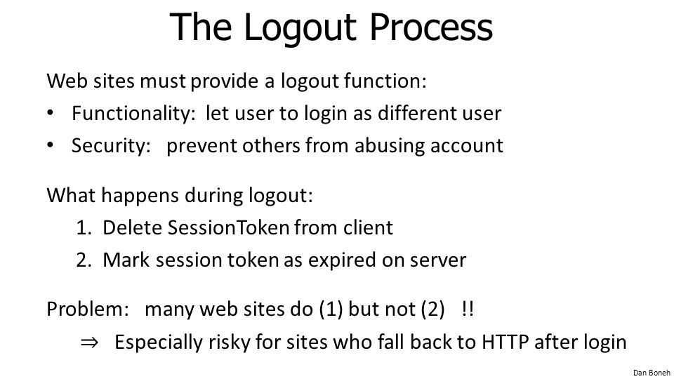 The Logout Process Web sites must provide a logout function: