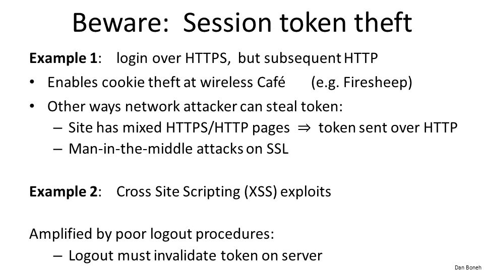 Beware: Session token theft