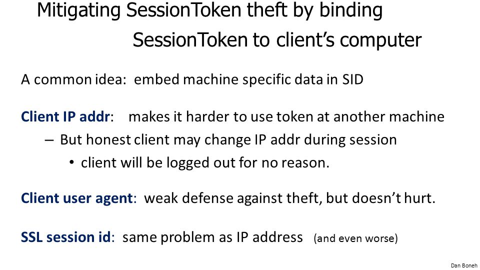 Mitigating SessionToken theft by binding