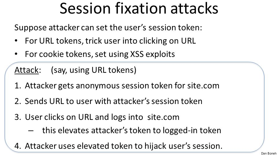 Session fixation attacks