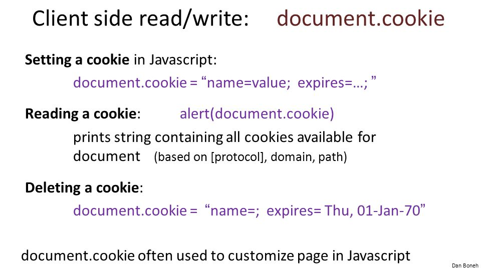 Client side read/write: document.cookie