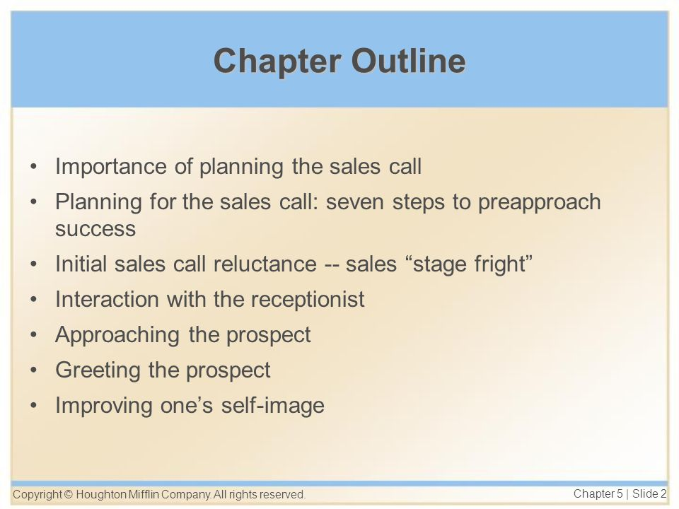 chapter outline importance of planning the sales call