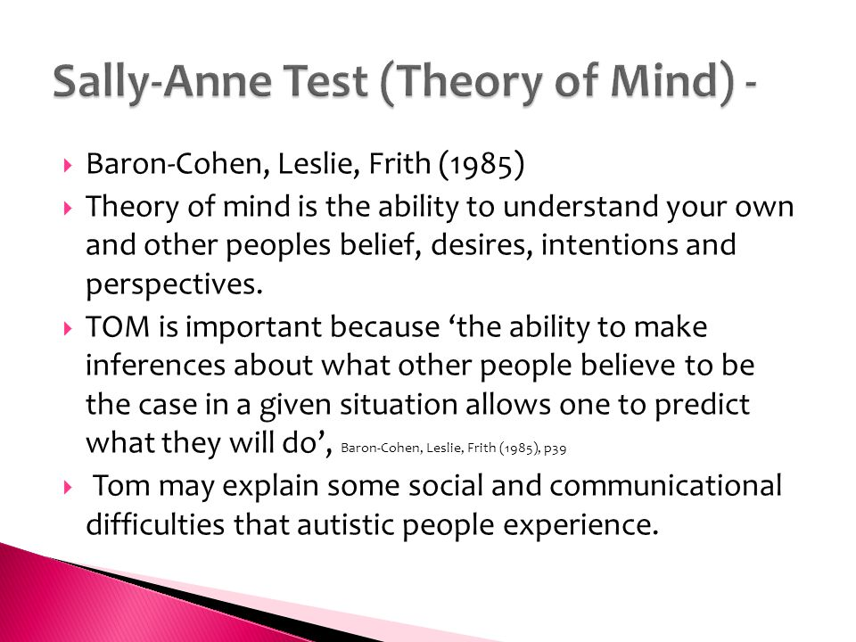 1985 Paper On Theory Of Mind >> Key Issue Is Autism An Extreme Male Condition Ppt Download