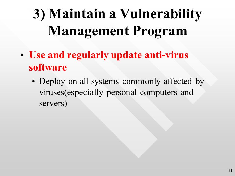 3) Maintain a Vulnerability Management Program