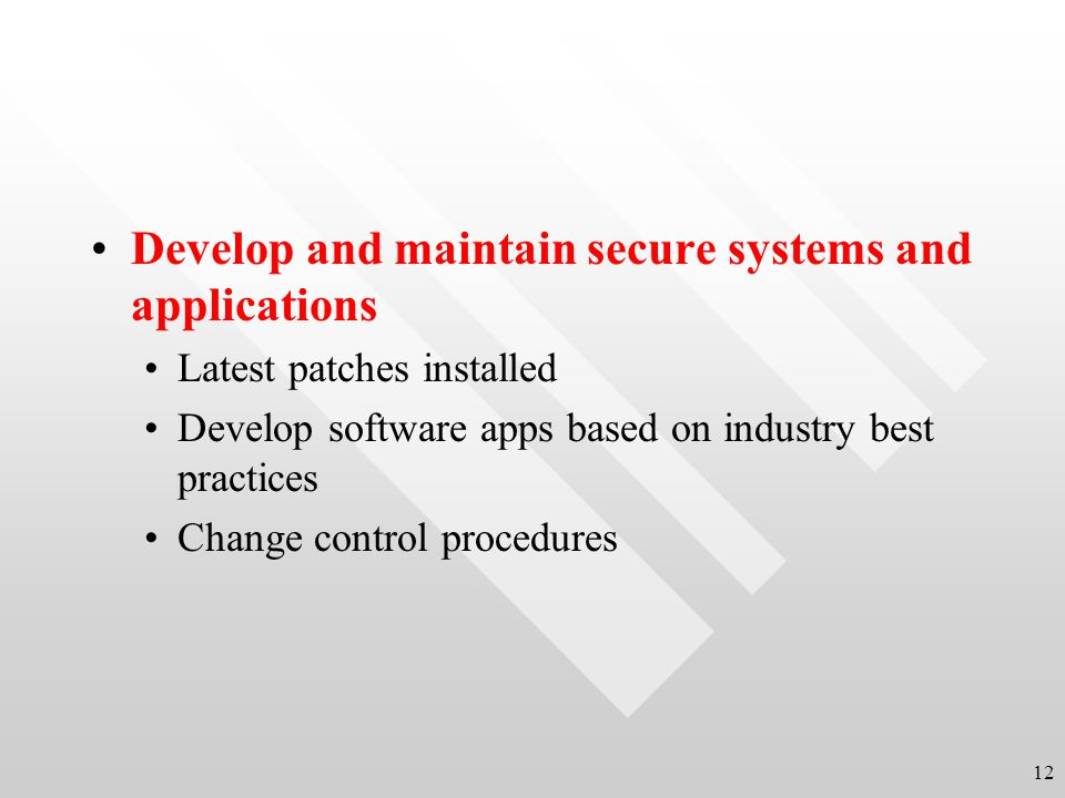 Develop and maintain secure systems and applications