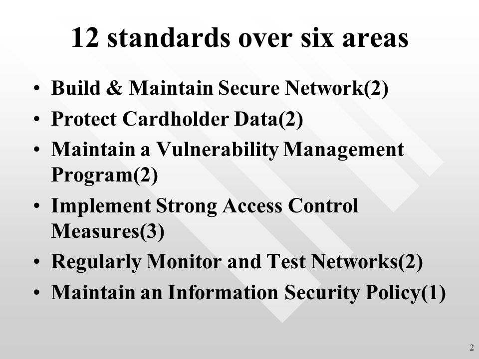 12 standards over six areas