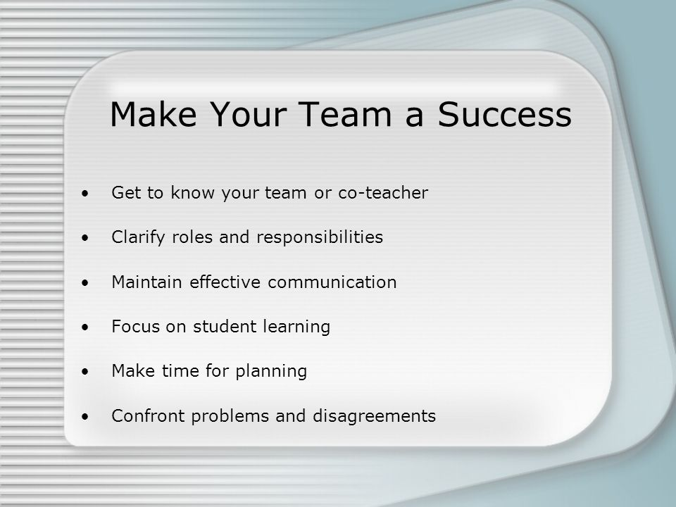 Make Your Team a Success