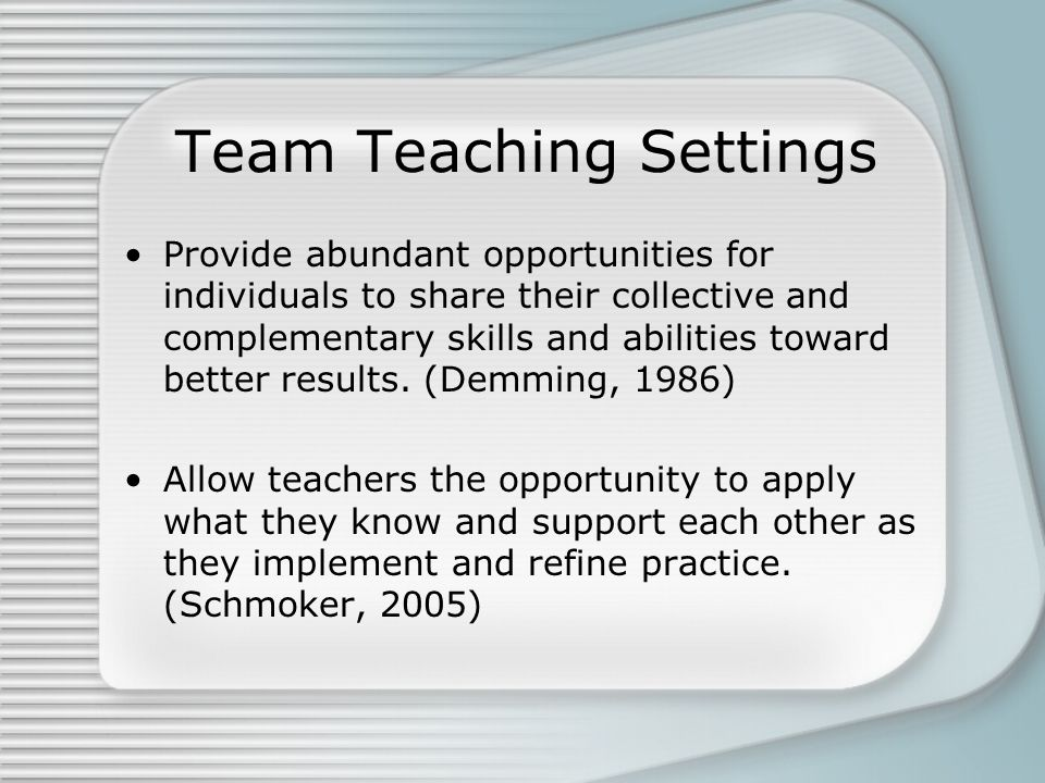 Team Teaching Settings