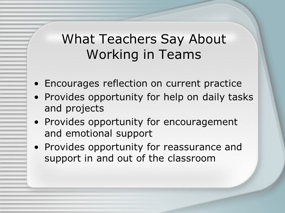 What Teachers Say About Working in Teams