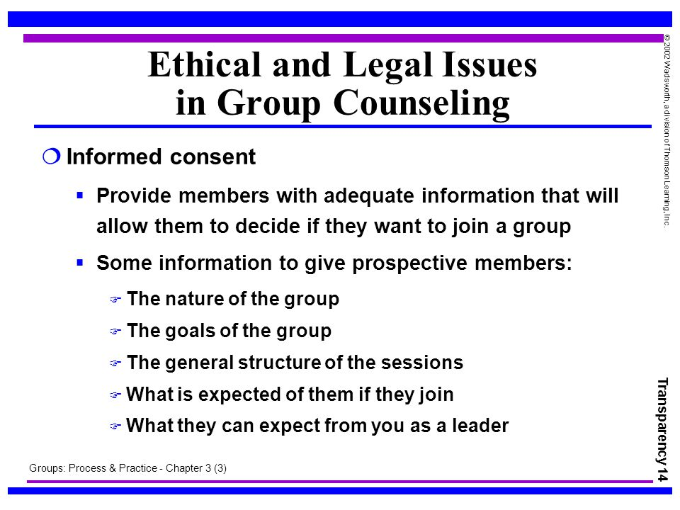 ethical issues in counseling Ethical and legal issues in counseling ethical standards and laws each professional counselor has an enormous responsibility to uphold the public trust and must seek high levels of training, education, and supervision in the ethical.
