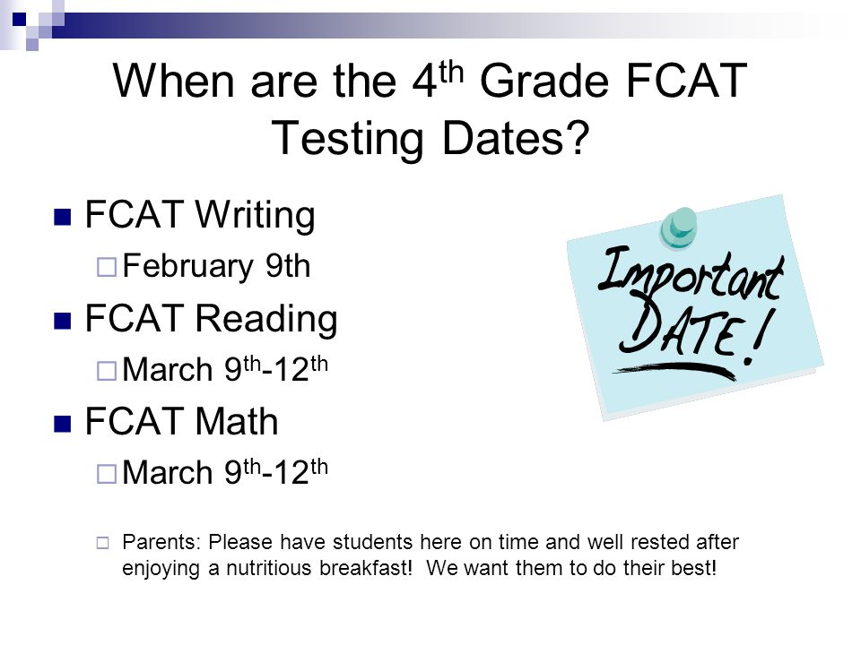 Welcome To Fourth Grade FCAT Parent Night Ppt Video Online