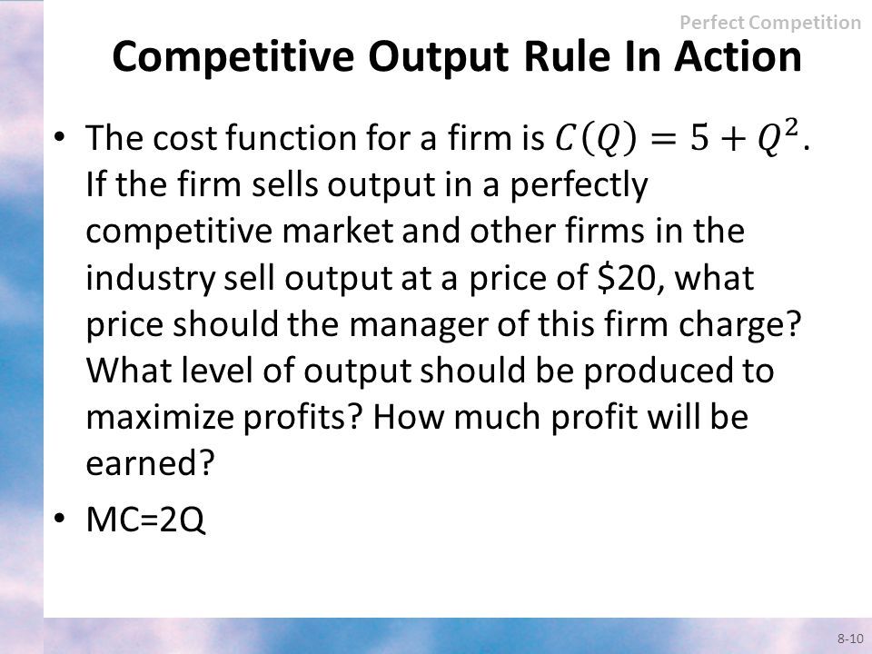 Competitive Output Rule In Action