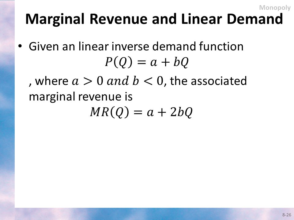 Marginal Revenue and Linear Demand