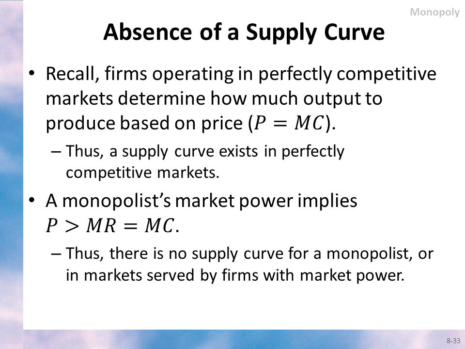 Absence of a Supply Curve