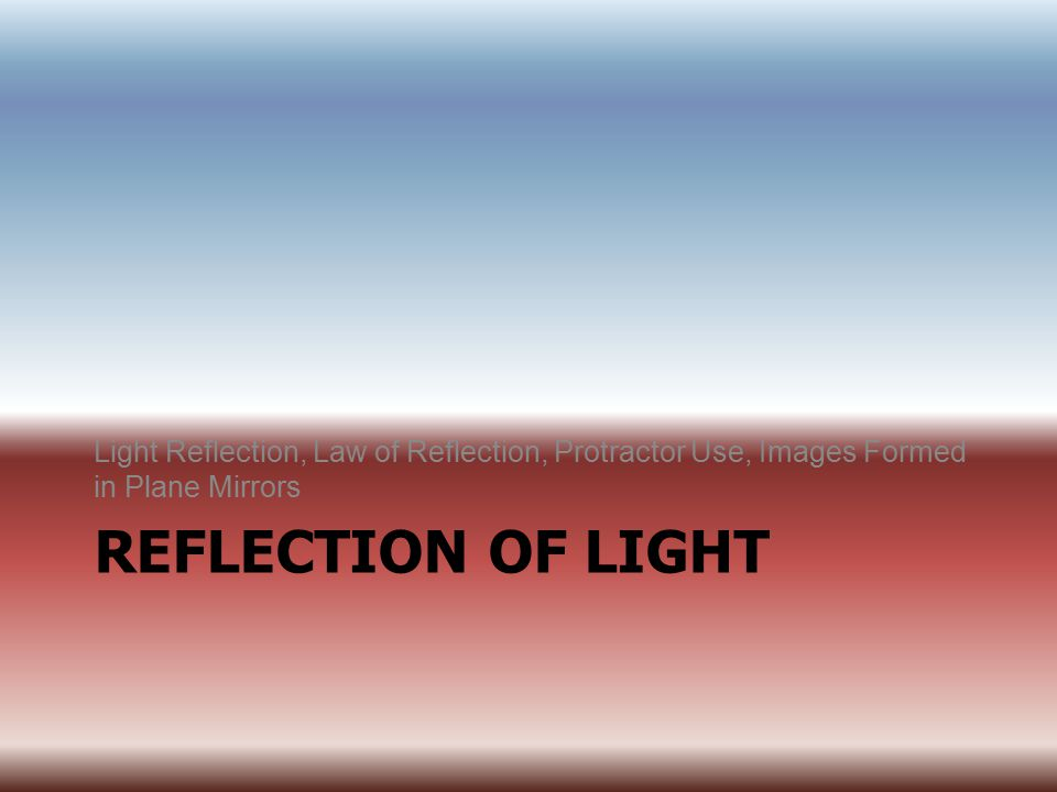 Light Reflection, Law of Reflection, Protractor Use, Images Formed in Plane Mirrors