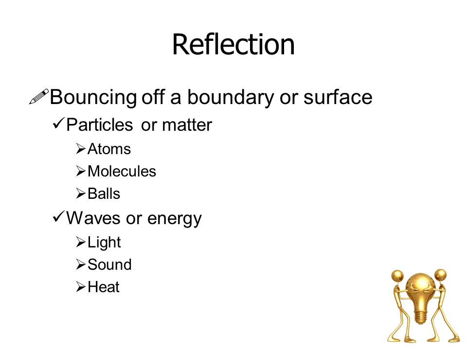 Reflection Bouncing off a boundary or surface Particles or matter